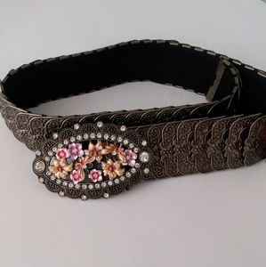 Accessory belt with embellishments.